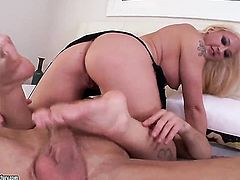 Huge ass blonde is on top