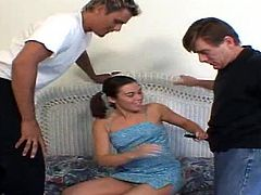 this cute brunette teen Ashley Blue, gets a cock stuffed in her neatly shaved, virginlike peach pussy, before another throbbing dick enters her tight asshole, fucking her during a DP until she gets two facial cumshots in this hardcore threeway.