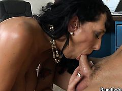 Alia Janine with big tits tries her hardest to make hard dicked fuck buddy Kris Slater bust a nut