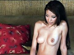 Well-experienced minx Alexis Love with tiny tits and trimmed cunt strips down to her bare skin and masturbates with sex toy