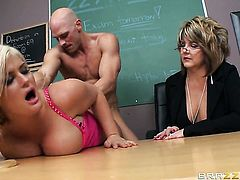 Julie Cash with giant melons is just desperate for sex in this steamy fuck action with Johnny Sins