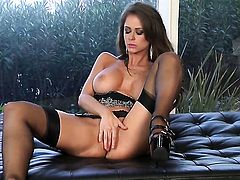 Emily Addison bares it all as she plays with her backdoor