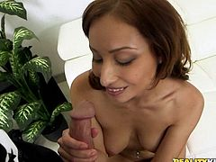 The first thing that happens when you lay eyes on Adessa, is adjust your pants to make room for your raging hard-on. Yeah, she's that sexy. When she shows and squeezes her huge tits, you're trying not to blow your load. She strips down, showing off her furry beaver and getting fingered, before sucking dick.