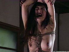 She has a strong will, because she is able to endure hard whipping and beating from her cruel master. She is finally let down from the bondage and made to suck on her master's cock, until he cums hard.