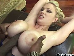 Fake boobs hottie Katie Kox loves black boner