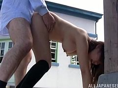 If you have a preference for exhibitionist Asian beauties, dare to click! A long-haired brunette slut wearing just a kinky neck collar, is about to get pounded hard, in public. See this shameless bitch riding cock.