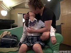 Does your fantasy involve Japanese teens in schoolgirl outfits, complete with knee-high socks and white cotton panties? If so, you are in for a real treat. This Nippon honey is getting groped by her lover all over her tight little body. Before too much longer, he will get her naked and ravish her.