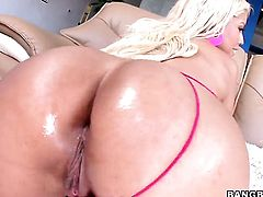 Blonde Bridgette B gets her mouth stretched by guys throbbing worm