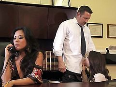 Office threesome with Chanel Preston and Kaylani Lei