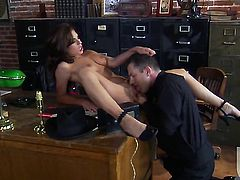 Kirsten Price is in heaven sucking dudes cum loaded rod