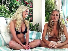 Amazingly hot minx Nicole Aniston with huge knockers spends her sexual energy alone with the help of