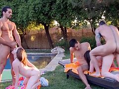 Visit official Group Sex Games's HomepageTatiana Kush and Jennifer White are both having sex in outdoor with several men, their fat dicks making them scream during raw anal moments