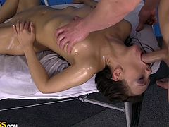 Dominica needs some relaxation in her day, so she goes and sees a masseur. He oils her body and works her backside. Having her turn over, he oils her tits and her pussy, giving her a good rubbing and deep fingering. This manual manipulation drives her insane with lust, which makes her start sucking him.