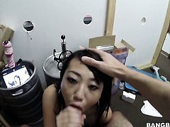 Brunette Miko Dai loves the way her sex partner moves his fuck stick up and down between her hands