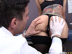 Luxurious beauty with curvy body, Yurizan Beltran, went to the doctor's office with a huge problem, in the hope that Mick can help her. For several days she felt uncomfortable, because something was stuck in her ass...