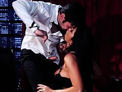 Sexy Romi Rain wanted to surprise her lover, by wearing hot lingerie... This busty brunette woman seems to enjoy the pleasant way the guy rims her ass, and you can see that she gets soon very excited. Don't miss the intense blowjob scene and have fun!