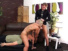Ryan Mclane fucks Cali Carter in her mouth as hard as possible in oral action
