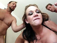 Eric John takes Chris Johnsons cum loaded cock in her hot mouth