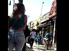 Sexy PAWG blonde in tight jeans at the bus station