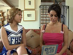 Cheerleader comes home to have sex with her cute girlfriend