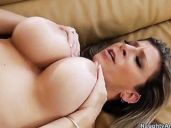 Sara Jay with round butt and trimmed bush has some time to get some pleasure with Johnny Castles throbbing meat pole in her hole