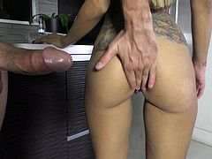 Tattooed big tit sexy Yurizan Beltran in tempting lingerie flaunts her perfect ass and takes off her red panties after hot blowjob. She gets her tight pussy stuffed full of cock from behind. Hot bodied slut makes man happy.