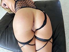 Fine looking blonde Madelyn Monroe in black fishnet outfit gives blowjob and then gets her wet cunt banged from your point of view. Watch gorgeous babe with sexy ass get her snatch pounded.