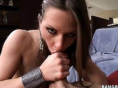 Warm breathtaker Rachel Roxxx with juicy boobs has fire in her eyes while sucking mans sturdy love t