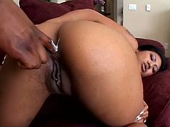 Black haired Asian whore Lyla Lei knows how to handle a big black cock