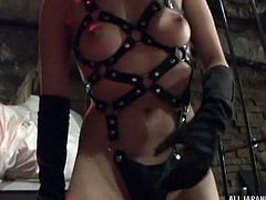 japanese leather domme controls her slave