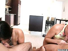 Brunette senorita Alexis Breeze with juicy bottom is in lesbian sexual ecstasy with Alanah Rae