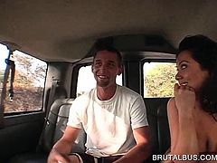 Busty hoe humping shaft on the back seat