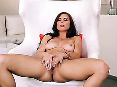 Sex hungry tart Aidra Fox with tiny tits and clean twat getting frisky for camera
