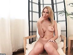 Blonde Summer Breeze finds herself horny and takes dildo in her snatch
