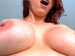 Nicki Hunter is a redhead milf with a huge ass. She is shaking her ass for her lover until he penetrates her anally. Her large boobs are bouncing up and down.