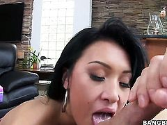 Asian Jayden Lee with round bottom and trimmed twat squeezes the cum out of rod with her pussy in interracial sex action