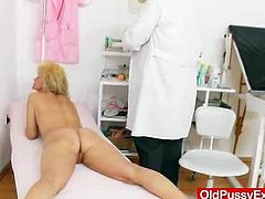 The blondie cougar babe, Patrice, gets her whole body, and her dame fuck hole examined