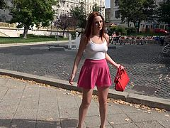 Lovely long legged redhead Eva Berger in sexy pink skirt is hungry for cash. She gets picked up and paid in the park to do wild things with a lucky guy. What a nice girl!