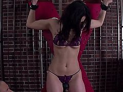 Japanese slave girl Sera Ichijo in sexy lingerie gets her Asian pussy stimulated with a vibrator without taking off her two-piece panties in the dungeon. Watch helpless Japanese MILF get toy fucked.