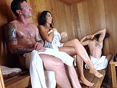 Visit official Brazzers Network's HomepageBrunette mom with huge breasts enjoys her daughter's boyfriend in the sauna, sucking his dick and fucking with the guy until exhaustion
