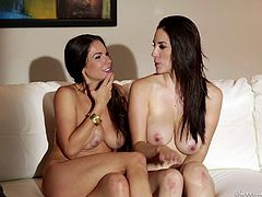 Naked babes relaxing in bed after some hot lesbian fun