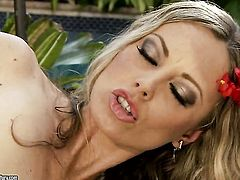Blonde Anita Dark with huge jugs opens her legs to fuck herself with sex toy