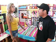 Blonde Bridgette B is not a whore but a porn star who loves to jerk men off
