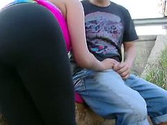 Perverted French beauty Anissa Kate giving head in public