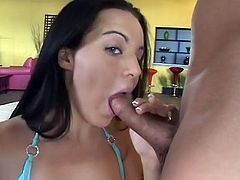 Straight haired charming brunette babe loves sucking delicious lollicock