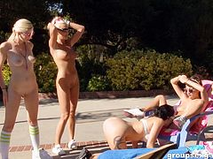 A group of hot girls get naked by the pool and have some fun