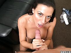 Brunette Rachel Starr with bubbly ass and hairless cunt loves getting her lovely face jizz covered