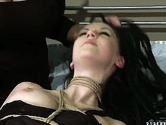 Brunette honey Gina Lorenzza with massive tits and Mandy Bright play with each others boobs before it comes to pussy fingering