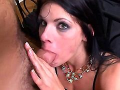 Lovely chick with huge tits is with a dude. She is giving a blow job in front of the camera. She opens up her pussy lips to the man. Watch her getting penetrated.