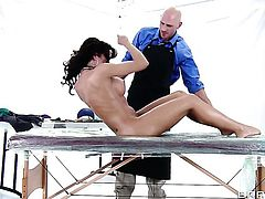 Johnny Sins uses his sturdy sausage to make Completely cute wench with juicy melons happy